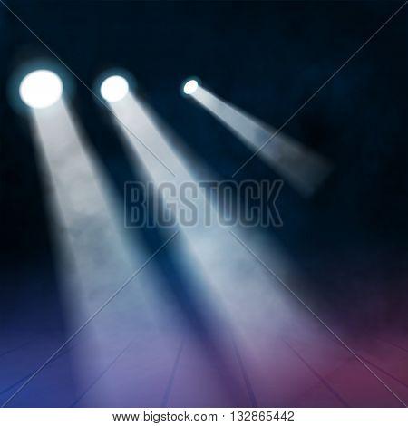 3 three Floodlights spotlights illuminates wooden scene. Vector illustration.