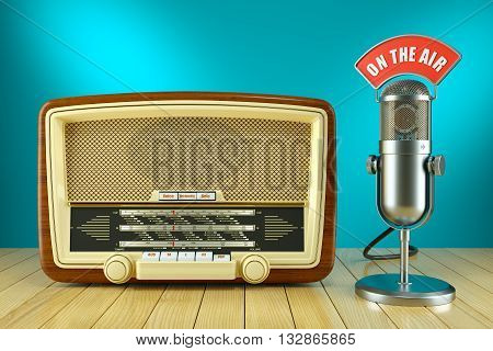 Retro Radio And Studio Microphone. On The Air Concept 3D