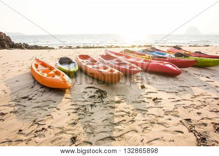 close up of kayaks on the beach