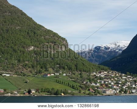 the City of flam and the aurlandsfjoerd in norway