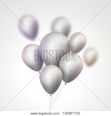 Silver Balloons bunch. Set of festive silver gray balloons. Holiday birthday event template.