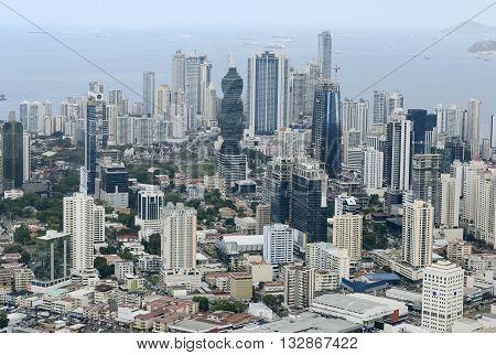 Aerial view of Panama City, Panama, Central America
