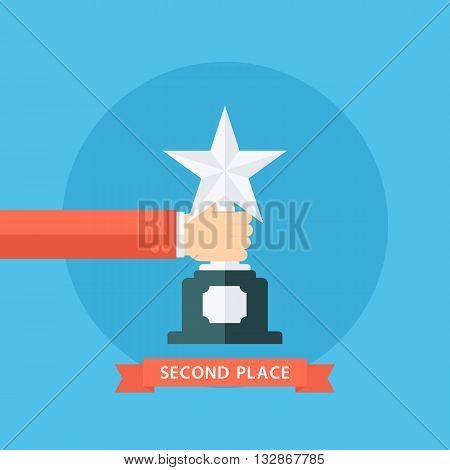 Male hand holding silver star award. Second place. Silver star award. Flat vector illustration.