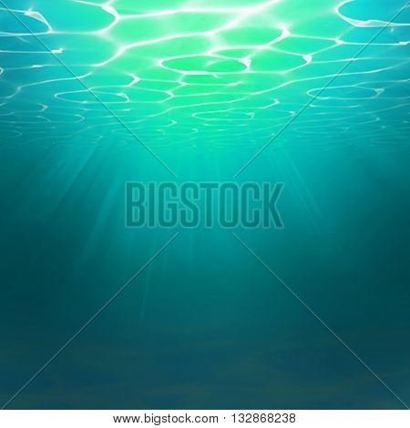Abstract Underwater background. Water waves effects. Turquoise underworld realistic ocean sea. Ocean or sea surface. Summer diving turquoise water vector illustration.