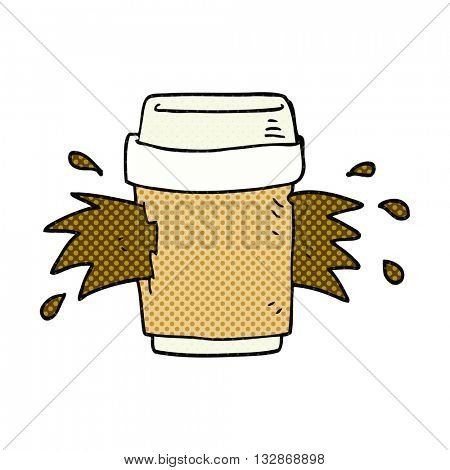 freehand drawn cartoon exploding coffee cup
