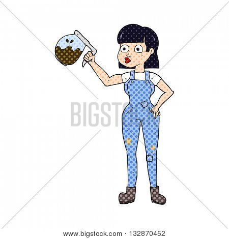 freehand drawn cartoon woman in dungarees with coffee