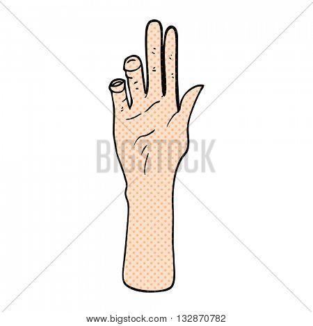 freehand drawn cartoon reaching hand