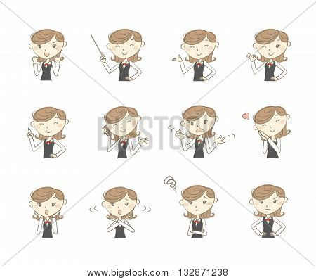 Set of poses and emotions office clerk in uniform