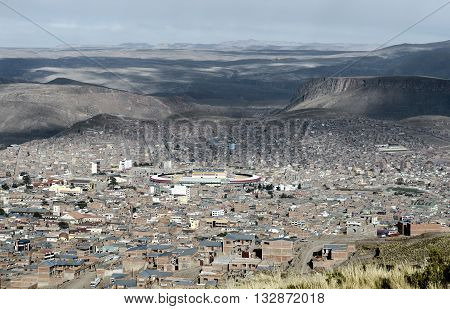 Panoramic view of Potosi (UNESCO) surrounded by the Andes Mountain in Bolivia - one of the highest cities in the world (4070m).
