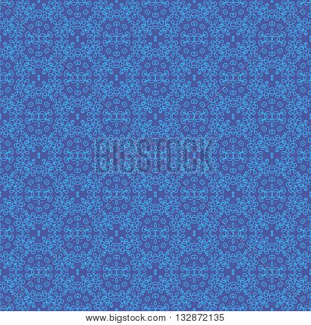 Texture on Blue. Element for Design. Ornamental Backdrop. Pattern Fill. Ornate Floral Decor for Wallpaper. Traditional Decor on Background