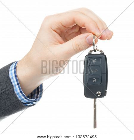 Male Hand Giving Car Keys - Studio Shot Isolated On White Background