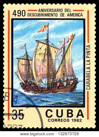 STAVROPOL RUSSIA - May 31 2016: a stamp printed in Cuba shows caravelle Pinta. Discovery of America 500th anniversary circa 1982.