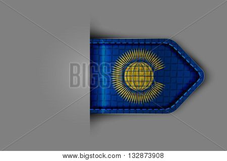 Flag of Commonwealth of Nations in the form of a glossy textured label or bookmark. Vector illustration.