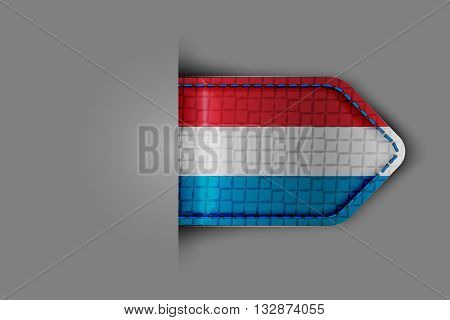 Flag of Luxembourg in the form of a glossy textured label or bookmark. Vector illustration.