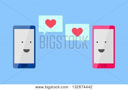 Man's blue phone and woman's pink phone with smiling faces are looking to each other, and message fields with red hearts inside. Love message concept