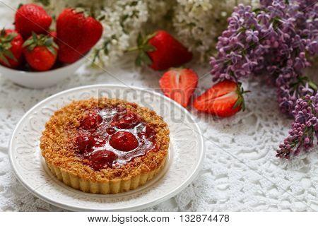 Summer berry pie. Tart pie cake shortbread with strawberry