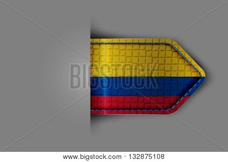 Flag of Colombia in the form of a glossy textured label or bookmark. Vector illustration.