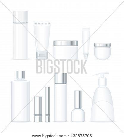Set of bottles for cosmetics isolated. Large collection of cosmetics shampoo, soap and cream in empty bottles and tubes isolated on white background. Cream and lotion product. Vector illustration