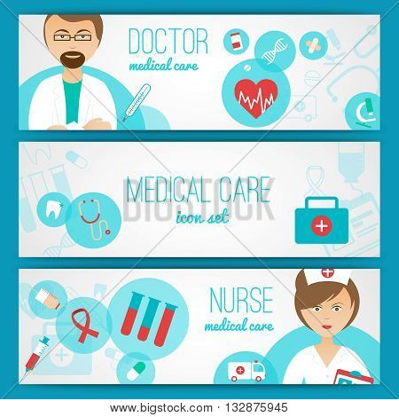 Medical doctor and nurse with first aid kit and healthcare symbols icons banners set abstract vector illustration