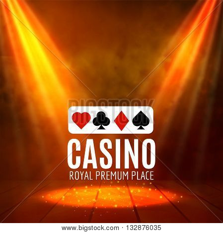 Shining Casino Banner Poster. Show spotlight casino design with cards. Casino poster.