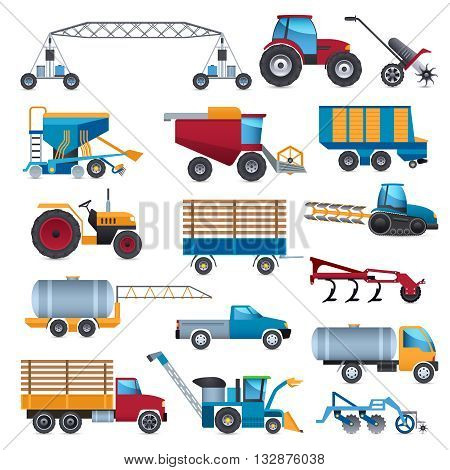 Agricultural and farming machines icons set with tractor combine and plough flat isolated vector illustration