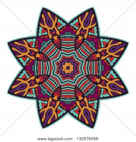 colorful mandala design abstract pattern. doodle star sign