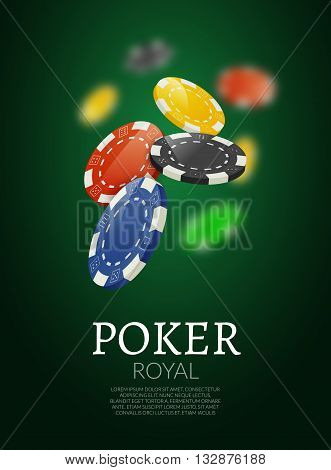 Poker chips bacgkground. Poker Casino template poster. Flyer design layout.