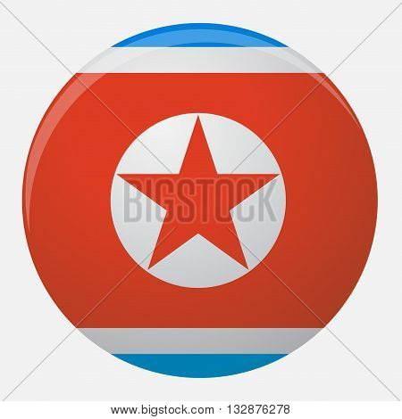 North Korea flag icon flat. Country national symbol illustration and nation patriotism vector