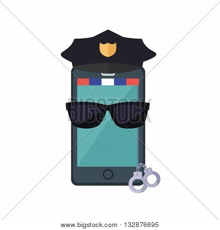 Phone protection design concept. flat style. Smartphone dressed in a police cap in black glasses with handcuffs. Protection of mobile phone and security digital access web, vector illustration