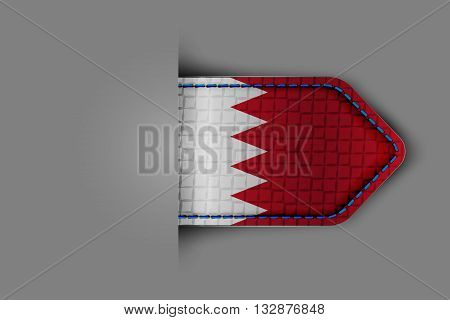 Flag of Bahrain in the form of a glossy textured label or bookmark. Vector illustration.