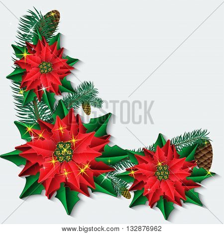 Christmas background with poinsettia flowers and fir branches. Vector illustration.