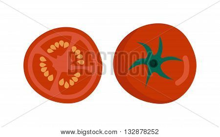 Fresh red tomato isolated on white. Tomato isolated vector red vegetable and food tomato slice isolated. Tomato isolated ingredient juicy vegetarian healthy food. Single tomato slice plant.