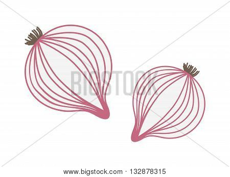 Red onion with fresh green sprout, half and onion rings isolated vector illustration. Red fresh onion and vegetable onion healthy food. Red onion with fresh green sprout and organic ripe.