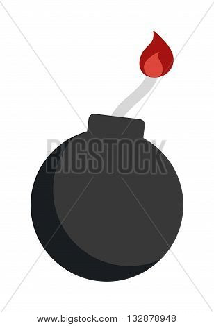 Bomb with burning wick weapon flat vector dynamite sphere bomb. Cartoon dynamite bomb with sparkle flame. Dynamite bomb with burning wick danger explosive weapon flat vector.