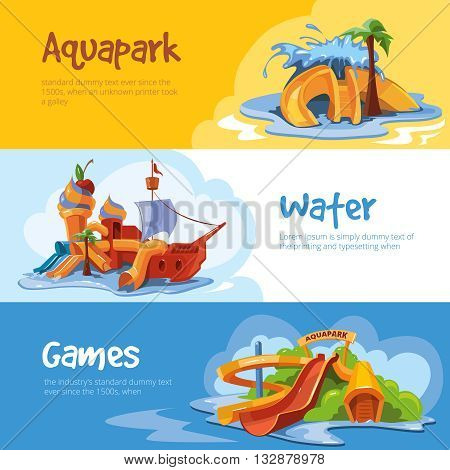 Set of Waterslide in an aquapark. Vector illustrations. Cartoon concept design for web, site, advertising, banner, poster, board and print. Pictures of waterslide with place for your text