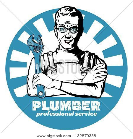 Professional plumber pop art vector illustration set
