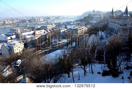 View from Fisherman's Bastion (Budapest, Hungary) in winter time
