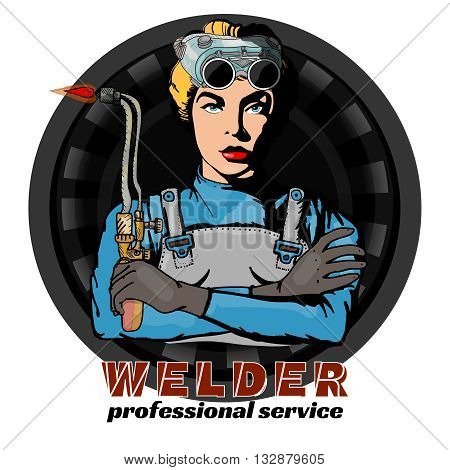 Professional woman welder pop art vector set