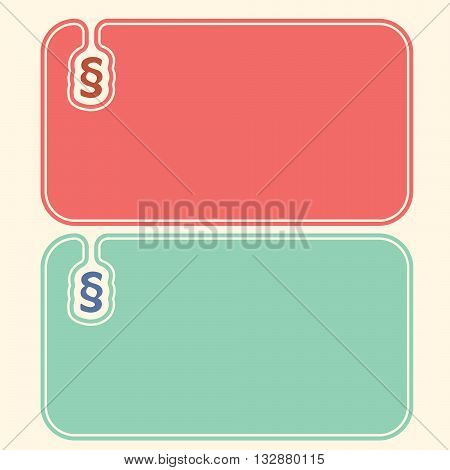 Colored vector business cards with paragraph symbol