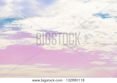Colorful Beautiful cloudy in the sky in summer on sunny day with pin light tone pastel color in different color