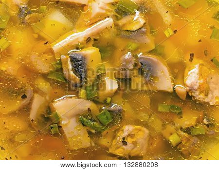fresh soup in a bowl with mushrooms mushrooms background texture