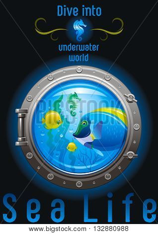 Blue porthole with colorful underwater life, fishes on black background