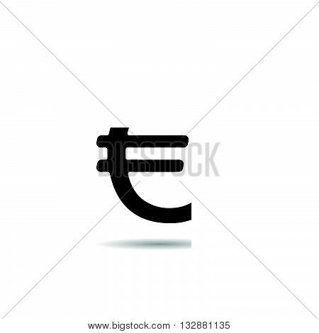 Euro sign icon. Drop shadow euro silhouette symbol. International currency. European union. Vector isolated illustration