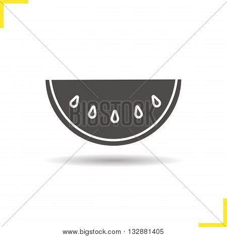 Watermelon icon. Drop shadow watermelon silhouette symbol. Ripe sliced watermelon. Watermelon slice logo concept. Vector melon isolated illustration