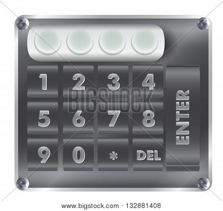 Numerical digital security lock with numbers and keyboard