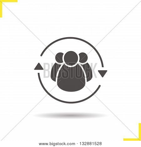Team management icon. Drop shadow employees silhouette symbol. Company workers. Personnel. Vector isolated illustration
