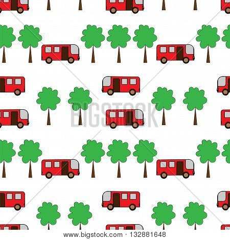 Seamless pattern with tree and bus. Vector illustration seamless for banner card invitation textile fabric wrapping paper.