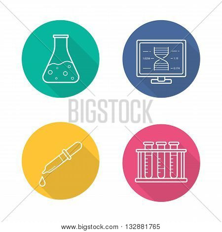 Laboratory equipment flat linear long shadow icons set. Lab flask and pipette. Test tubes rack and dna strand research formula. Vector