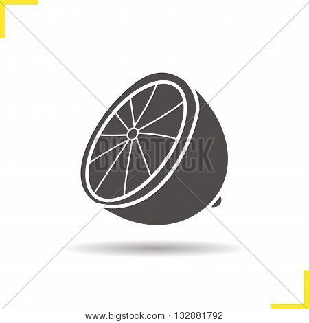 Lemon icon. Drop shadow lime silhouette symbol. Citrus. Halved tropical fruit. Vector isolated illustration