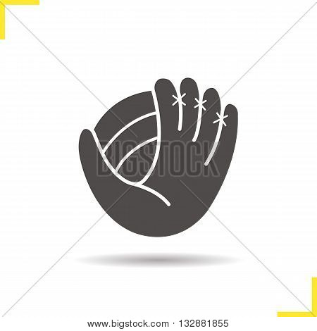Baseball glove with ball icon. Drop shadow silhouette symbol. Softball player's equipment. Baseball mitt. Sport accessory. Vector isolated illustration